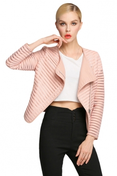 Womens Lapel Long Sleeve Hollow Out Spliced PU Leather Jacket Pink