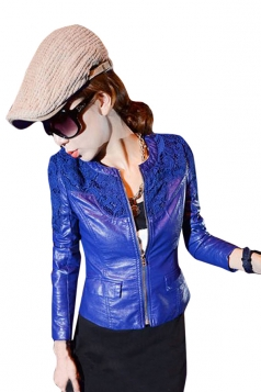 Womens Plain Long Sleeve Zipper Crochet Lace PU Leather Jacket Blue