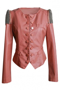 Womens Long Sleeve Round Neck Patchwork PU Leather Jacket Pink