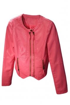 Womens Plain Long Sleeve Round Neck Zipper PU Leather Jacket Pink
