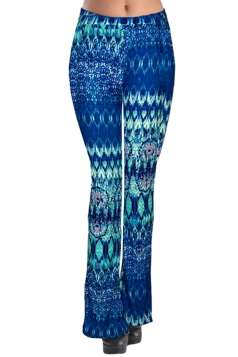 Womens Trendy Slimming Printed Flared Palazzo Leisure Pants Blue