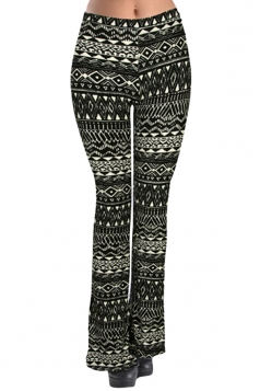 Womens Geometric Print Flared Palazzo Leisure Pants Black