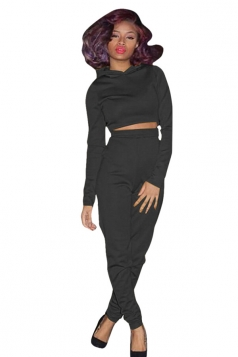 Womens Hooded Crop Top Plus High Waist Long Pants Sports Suit Black