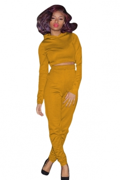 Womens Hooded Crop Top Plus High Waist Long Pants Sports Suit Yellow