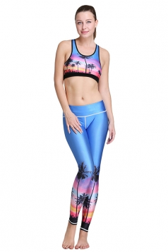 Womens Sunset Paradise Pattern 3D Printed Yoga Sports Bra Set Purple
