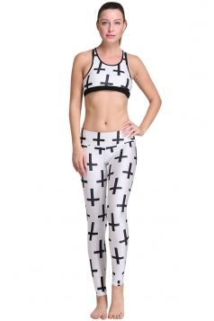 Womens Cross Pattern 3D Digital Printed Yoga Sports Bra Set White