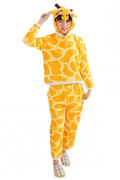 Womens Warm Cotton Long Sleeve Hooded Giraffe Cartoon Pajamas Yellow