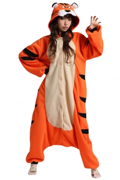 Womens Hooded Onesies Tiger Pajamas Animal Costume Orange