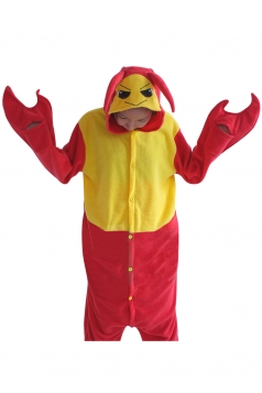 Womens Hooded Onesies Lobster Pajamas Animal Costume Red