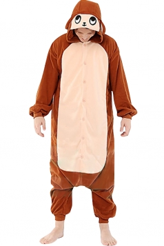 Womens Hooded Onesies Monkey Pajamas Animal Costume Brown
