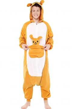 Womens Hooded Onesies Kangaroo Pajamas Animal Costume Yellow