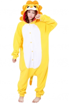 Womens Hooded Lion Pajamas Onesies Animal Costume Yellow