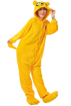 Womens Hooded Onesies Dog Pajamas Animal Costume Yellow