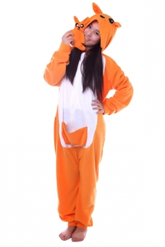 Womens Cute Warm Hooded Fox Pajamas Jumpsuit Costume Orange