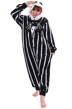Womens Cute Striped Hooded Skull Pajamas Jumpsuit Costume Black