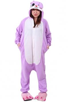 Womens Cute Warm Hooded Rabbit Pajamas Jumpsuit Costume Purple