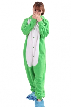 Womens Cute Warm Hooded Pig Pajamas Jumpsuit Costume Green