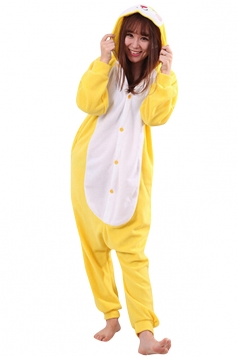 Womens Cute Warm Hooded Rabbit Pajamas Jumpsuit Costume Yellow