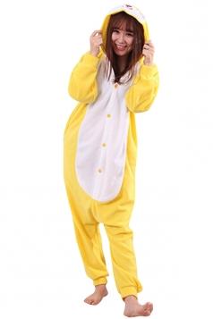 Womens Cute Warm Hooded Rabbit Pajamas Jumpsuit Costume Yellow