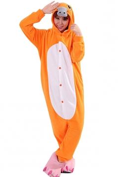 Womens Cute Warm Hooded Platypus Pajamas Jumpsuit Costume Orange