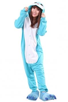 Womens Cute Warm Hooded Bunny Pajamas Jumpsuit Costume Blue