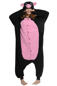 Womens Cute Cartoon Hooded Pig Pajamas Jumpsuit Costume Black