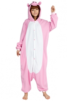 Womens Cute Cartoon Hooded Pig Pajamas Jumpsuit Costume Pink
