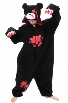 Womens Hooded Scared Gloomy Bear Pajamas Jumpsuit Costume Black