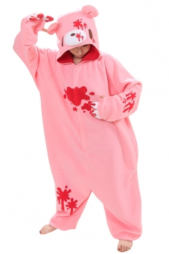 Womens Hooded Scared Gloomy Bear Pajamas Jumpsuit Costume Pink