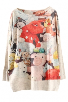 Womens Loose Crewneck Batwing Sleeve Toys Printed Sweater Red