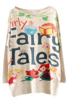 Womens Crewneck Batwing Sleeve Fairy Tales Sweater Beige