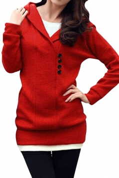 Womens Long Sleeve Slim Hooded Knitted Sweater Dress Red