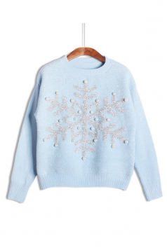 Womens Snowflake Round Neck Sequined Beaded Christmas Sweater Blue