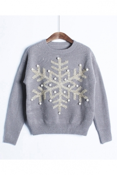 Womens Snowflake Round Neck Sequined Beaded Christmas Sweater Gray