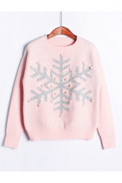 Womens Snowflake Round Neck Sequined Beaded Christmas Sweater Pink