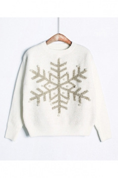 Womens Snowflake Round Neck Sequined Beaded Christmas Sweater White