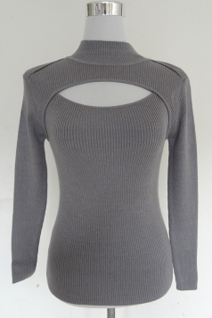 Womens Long Sleeve Turtleneck Keyhole Pullover Knitted Sweater Gray