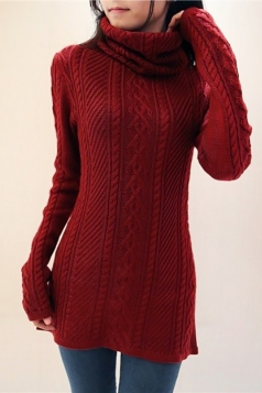 Womens Thick Pile Collar Cable Knit Turtleneck Pullover Sweater Ruby