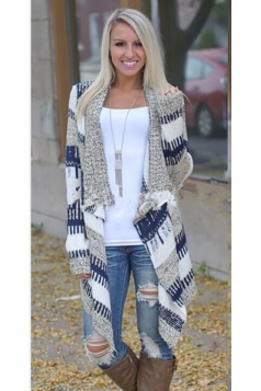 Womens Stylish Long Sleeve Knitted Irregular Cardigan Sweater Blue