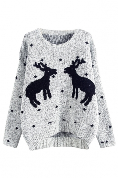 Womens Crewneck Reindeers Patterned Ugly Christmas Sweater Light Gray