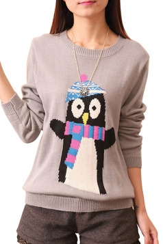 Womens Penguin Printed Crewneck Long Sleeve Pullover Sweater Gray