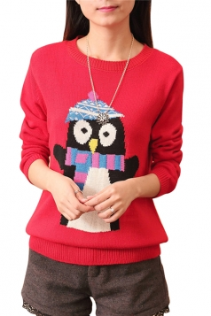 Womens Penguin Printed Crewneck Long Sleeve Pullover Sweater Red