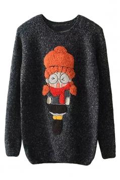 Womens Round Neck Cartoon Girl Applique Pullover Sweater Black