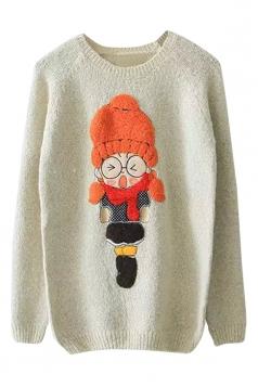 Womens Round Neck Cartoon Girl Applique Pullover Sweater Beige White