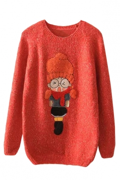 Womens Round Neck Cartoon Girl Applique Pullover Sweater Red