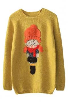Womens Round Neck Cartoon Girl Applique Pullover Sweater Yellow