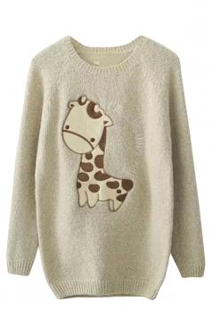 Womens Raglan Sleeve Giraffe Applique Pullover Sweater Beige White