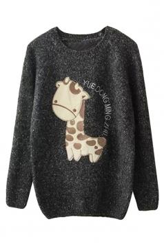 Womens Raglan Sleeve Giraffe Applique Pullover Sweater Dark Gray