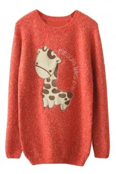 Womens Raglan Sleeve Giraffe Applique Pullover Sweater Watermelon Red