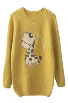 Womens Crewneck Raglan Sleeve Giraffe Applique Pullover Sweater Yellow
